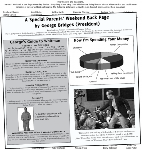 A Special Parents' Weekend Back Page by George Bridges (President)