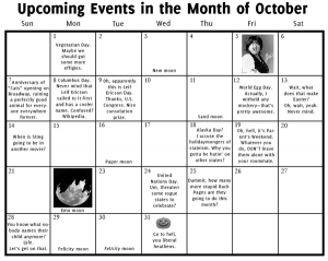 Upcoming Events in the Month of October
