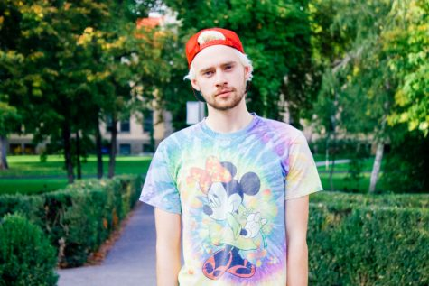 Sophomore Brendan Dunlap, a frequent model of the Spectrum Apparel. Photo by Jackie Greisen