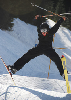 Simon Pendleton, '11, skiing at Telefest at Bluewood over the weekend. The festival celebrated Telemark skiing, over 7000 years old. Credit: Falltrick
