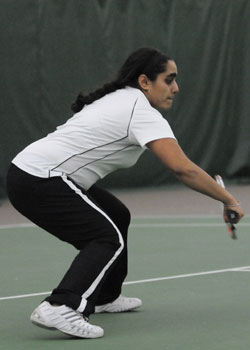 Competing at a variety of singles and doubles seeds, Divneet Kaur, '10, will be a key contributor behind singles No. 1 Elise Otto, 11. Credit: Jacobson