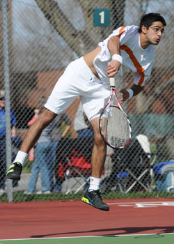 Nadeem Kassam, '10, won matches at No. 1 doubles and No. 2 singles in Whitmans second match against Whitworth on Sunday, April 5. Credit: Jacobson.