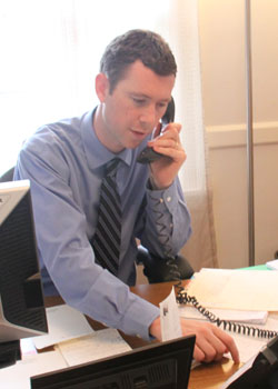 For Kevin Dyerly, Director of Admissions, the work doesnt end once acceptance letters are sent out. Credit: Klein.