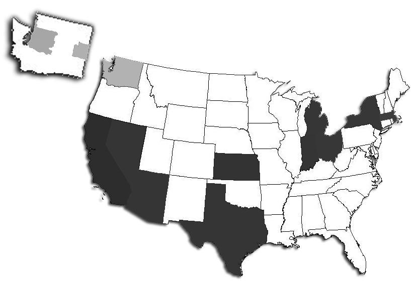 Dark grey: Confirmed cases of swine flu. Light grey: Suspected cases. Credit: Rasmussen