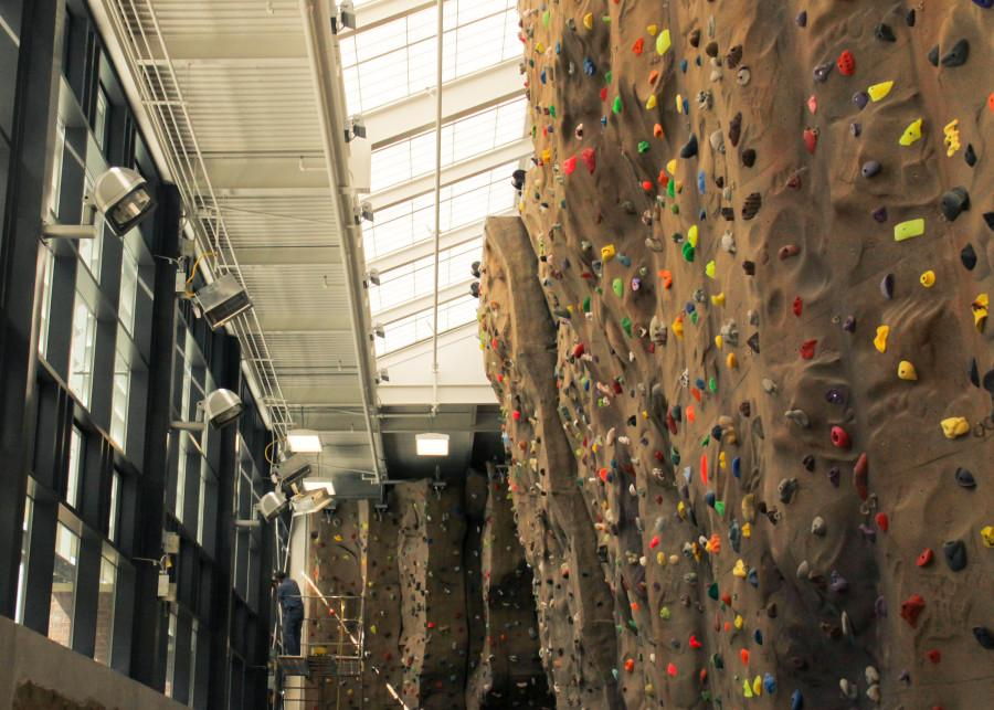 The newly expanded and rennovated climbing wall.