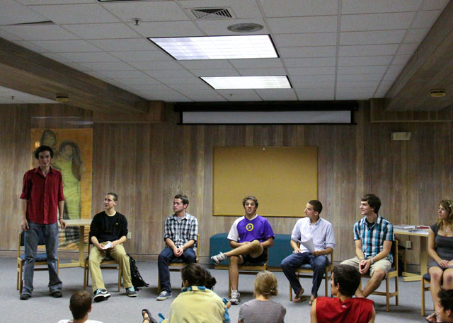 First-year senate candidates field questions from classmates in Jewett Lounge, Tuesday, Sept. 15. Credit: Van Neste