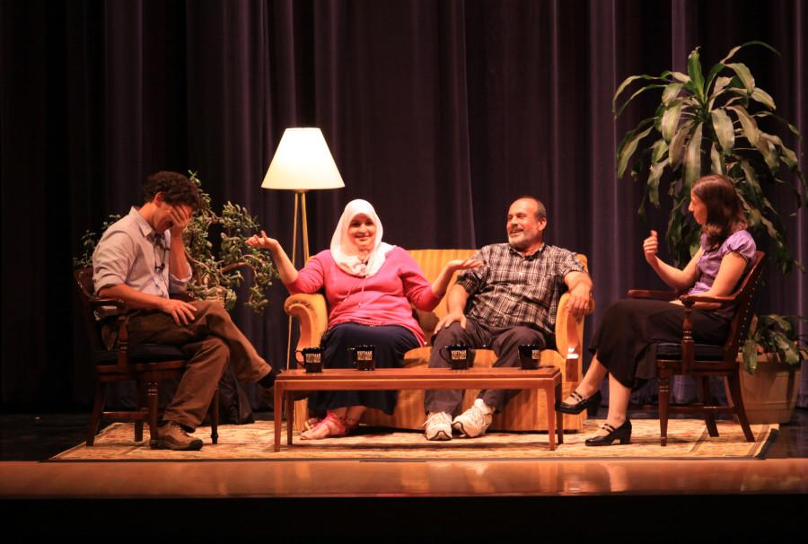 Dave Eggers, Kathy Zeitoun, Abdulrahaman Zeitoun and Jocelyn Hendrickson (from left) discuss the book Zeitoun and the people behind the story. Photo Credit: Marin Axtell