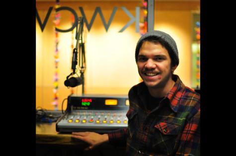 Matt Bachmann '11 in the KWCW studio. Photo Credit: Kendra Klag