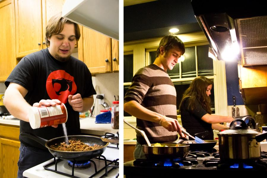 Johnny Zimmerman '11 (left), Curtis Reid '10 (center) and Ali Schlueter '11 (right) prepare curry and enchiladas in their off-campus homes.  Photo by Brandon Fennell