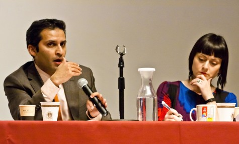 Salman Hameed and Shiloh Krupar listen to and address questions from the audience.  Credit: Marie Von Hafften