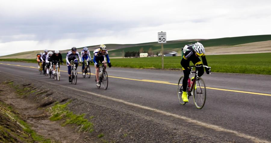 U of O cyclist pulls ahead of the competition during the Men's B Palouse Road Race. This was the first of three races in the Missionary Omnium which took place last weekend on Saturday and Sunday. Photo Credit: Ben Lerchin
