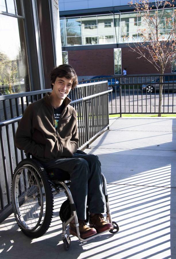 Tom Everett, 12, and the Tamarac wheelchair ramp Whitmans administration built for him. Photo Credit: Kendra Klag