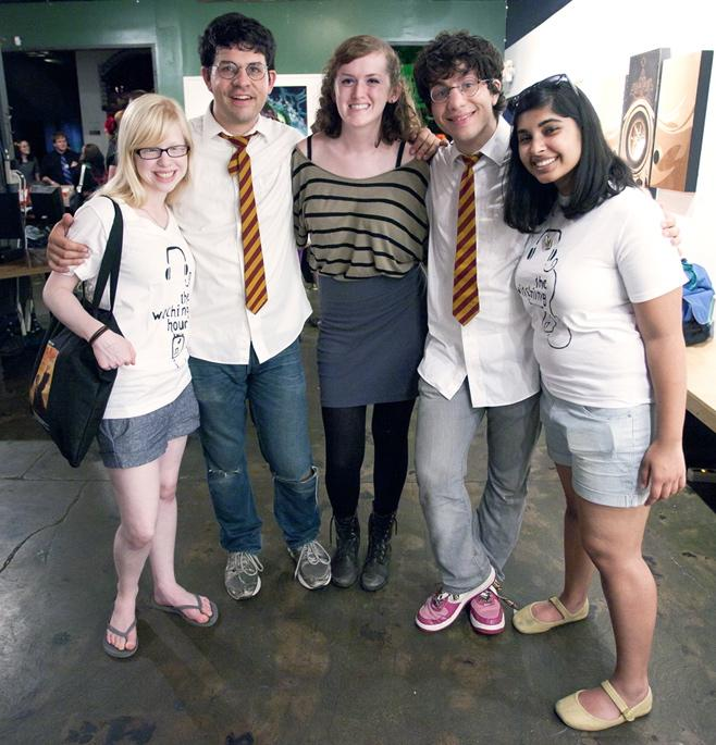 DJ Claire Johnson '14, Paul DeGeorge (Harry Potter, Year 7), DJ Sara Rasmussen '12, Joe DeGeorge (Harry Potter, Year 4), DJ Mehera Nori '12 after their interview and a show at Backspace in downtown Portland on June 21, 2011.