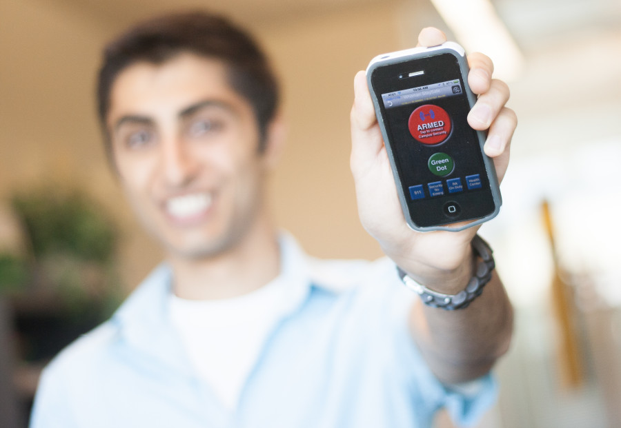 Kayvon Behroozian '14 spearheaded bringing a smartphone security app to Whitman campus.  Photo by Halley McCormick.
