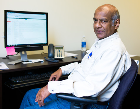 Professor Seneviratne in his office.  Photo by Charlie Li.