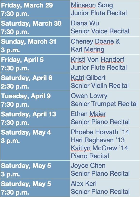 Upcoming Music Recitals Calendar