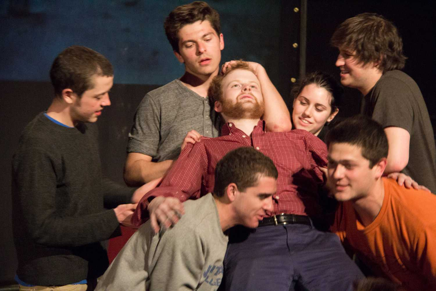 At the end of Musical Hour, clockwise from left, Henry Nolan, Sam Gelband, Jeremy Howell, Rose Gottlieb, Sam Halgren, Eli Zavatsky and Cory Rand.