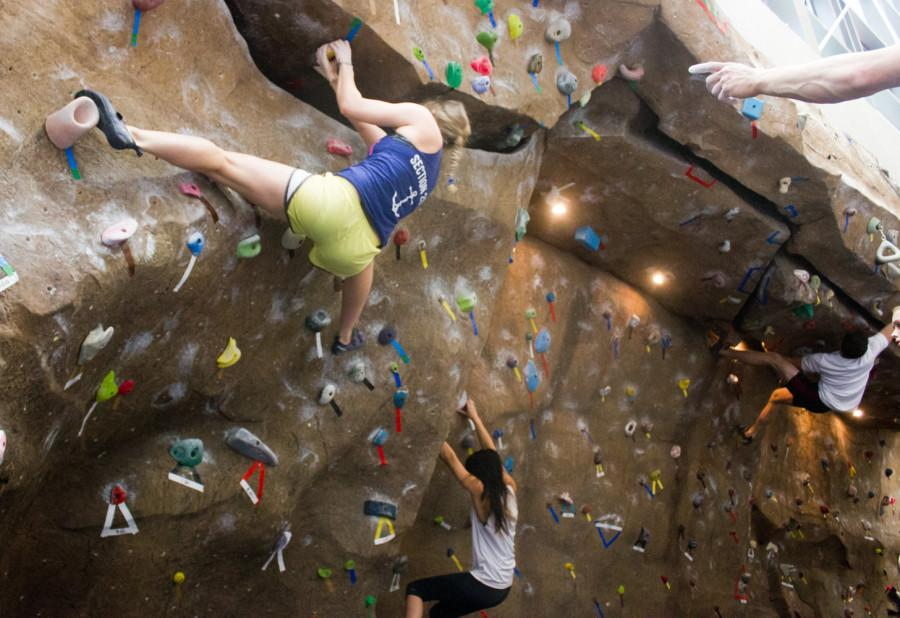 College students from all over the Pacific Northwest gathered at the Whitman College Climbing Center for the Sweet Onion Crank climbing festival last weekend. Photos by Catie Bergman.