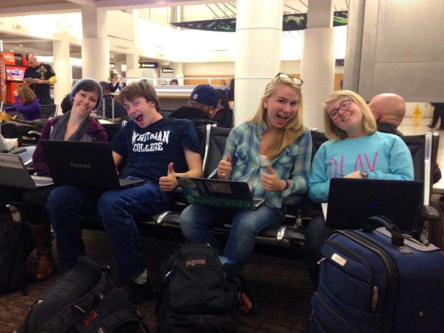 Serena, Andy, Dani and Sarah excited for our red-eye to Dallas.