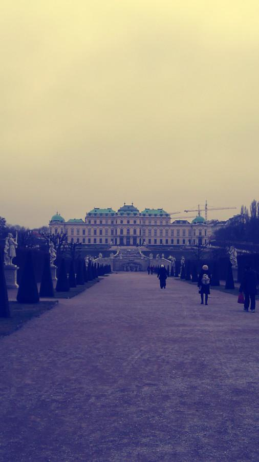 The Belvedere on a particularly foggy day in Vienna.