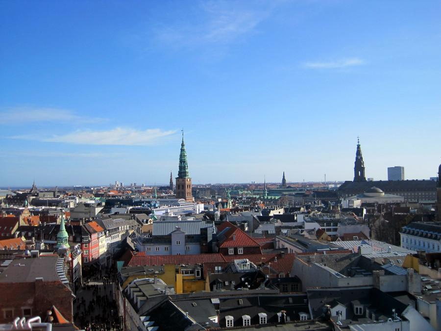 A bird's eye view of Copenhagen from the Round Tower.