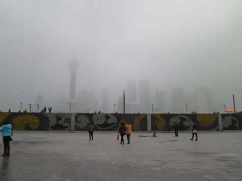 This is a photo of the Bund--very famous in Shanghai. As you can see, smog is a real issue here.