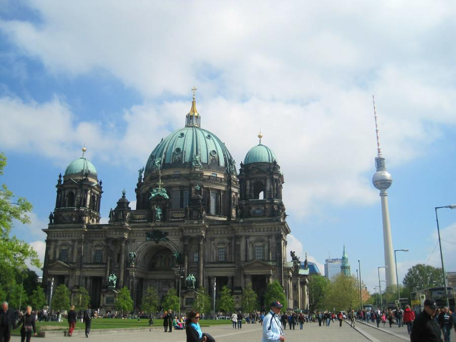 The Berlin Cathedral and the TV Tower perfectly encapsulating Berlins historical conflict with Church and State.