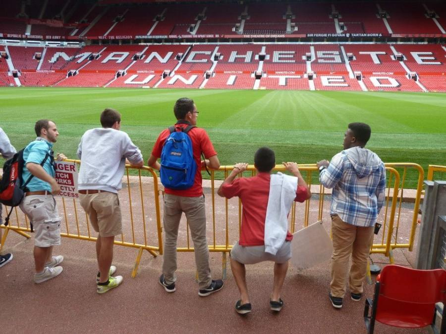 Whitman men's soccer players at Old Trafford, Manchester United F.C.'s home stadium. Photo courtesy of the Whitman men's soccer team.