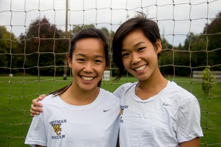 Linnea Soo 18 (left) and Alissa Soo 18 bring dynamism to the womens soccer team. Photo by Hannah Bashevkin.