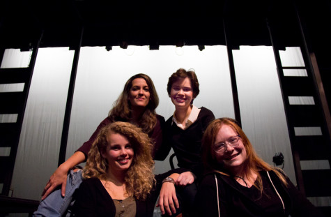 Senior theater majors prepare for their performance in Top Girls. Front row, from left: Kathryn Bogley '15, Annie Szeliski '15. Back row, from left: Sarah Ann Wollett '15, Caroline Rensel '15. Photo by Halley McCormick.