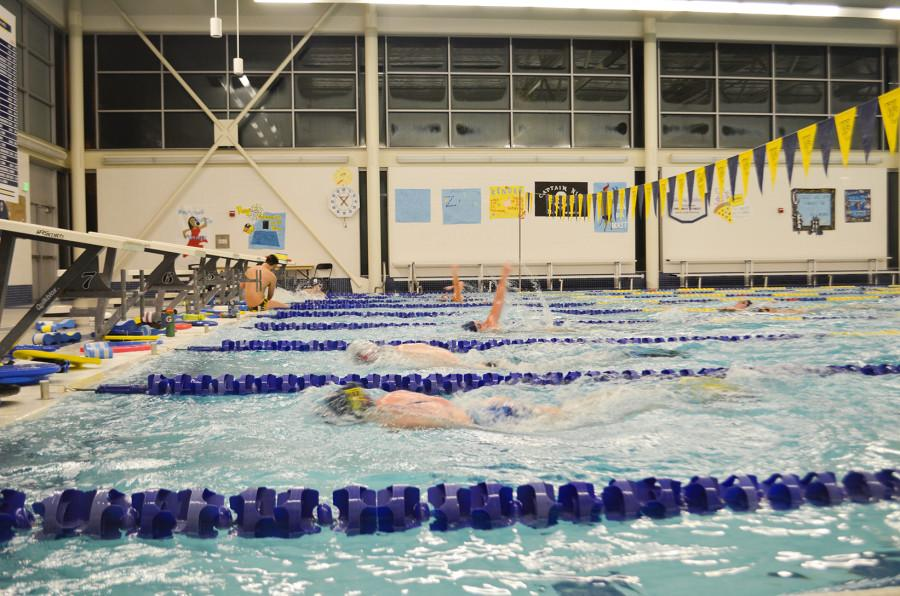 The swim team practices in the pool located within Baker Ferguson Fitness Center. Photo by Nikki Antenucci.