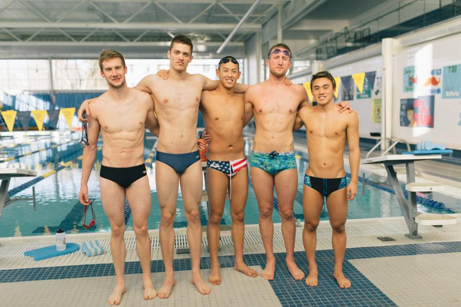 Left to right: Sam Starr,  Loic McGiverin-Odeide, Clark Sun, Karl Mering, Sean Tarada. These swimmers are in the running to go to nationals. Photo by Tywen Kelly.