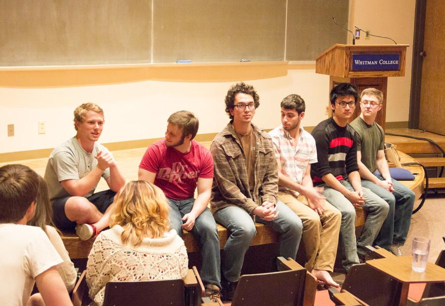 Members of Sigma Chi speak at the Greek Meeting. Photo by Anna von Clemm.