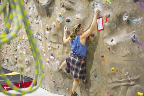 Dana Bolster '17 is another avid participant of Ladies Climbing Night. Photo by Hannah Bashevkin.