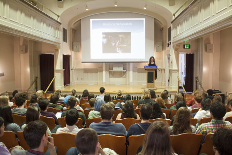 Students present in venues across campus, including Kimball Theater. Photo by Rachael Barton.