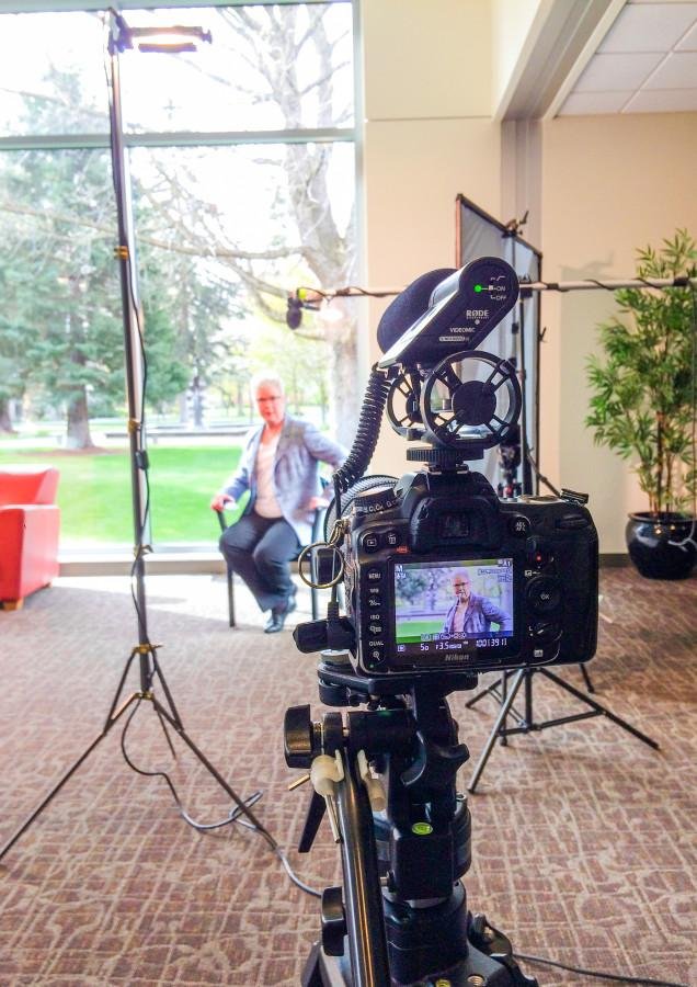Dr. Murray was on campus filming parts of the video series. Photo contributed by Michelle Ma from Whitman Communications.