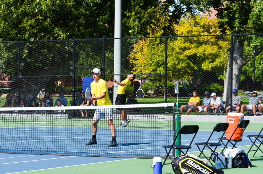 Zach Hewlin (left) and Phillip Locklear (right) play doubles in the tournment this past weekend. Photo by Chloe Alley-Sarnack.