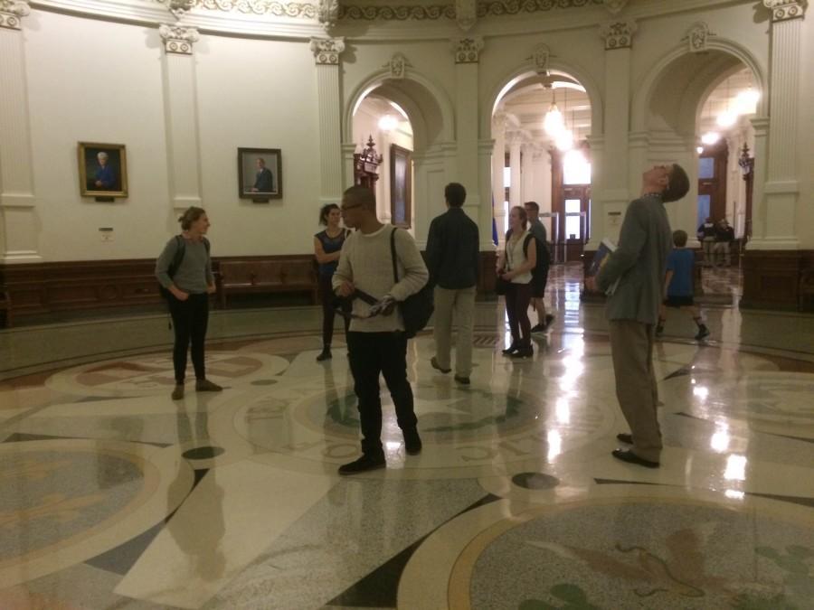 Wandering the Texas State Capitol rotunda on Saturday night.