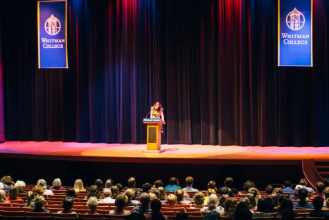 Pictured: Leslie Jamison gives a talk in Cordiner Hall. Photo by Henry Honzel