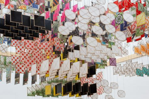 Jacob Hashimoto's Larger-Than-Life Artwork Descends Upon Whitman Campus