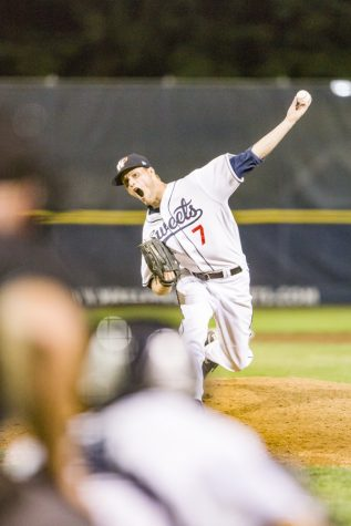 Garrett Atkinson, above, throws a pitch for the Walla Walla Sweets. Photo by Matt Banderas, Contributed by Katie Biagi