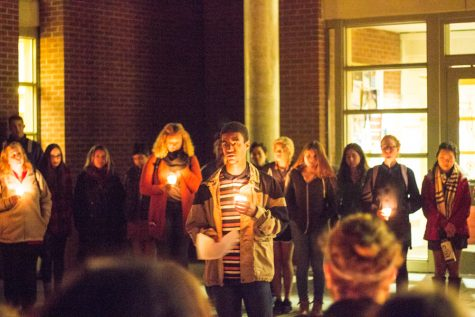 Vigil held in front of Penrose Library. Photo by Henry Honzel.