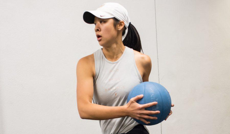 Senior Phoebe Nguyen training at a post season womens golf workout