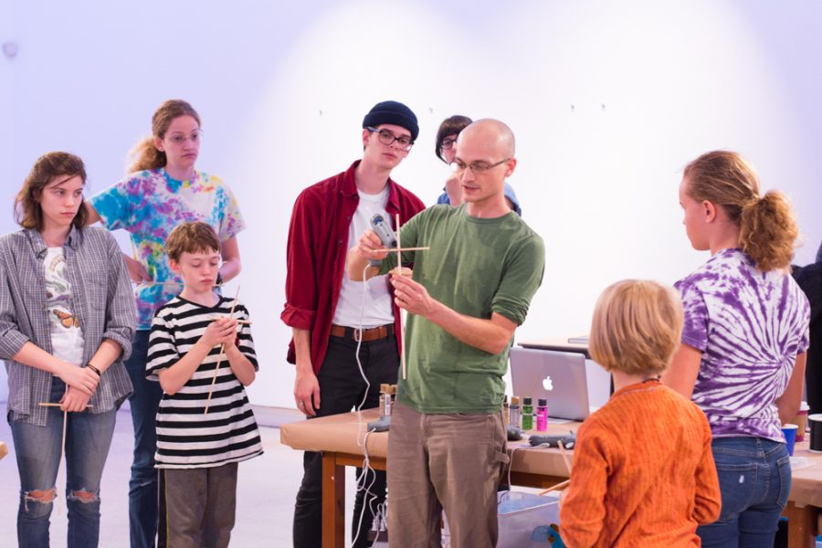 Dan Luce teaching at his workshop on building puppets. Photo by Carson Jones