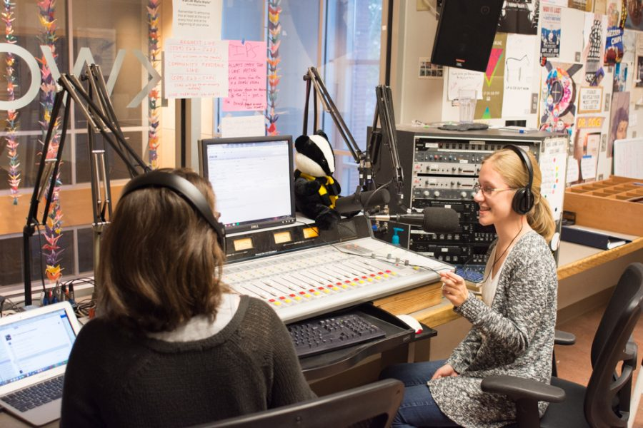 Jane Kern (left) and Megan Gleason (right) recording their Harry Potter themed show,  Witching Hour, on KWCW