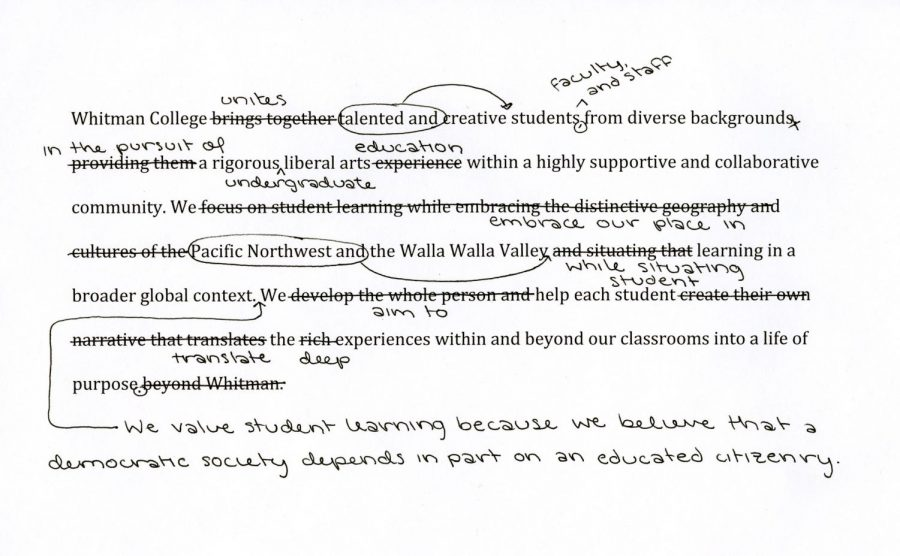 Differences between the Sept. 22 and updated Nov. 28 mission statement drafts shared by President Murray.