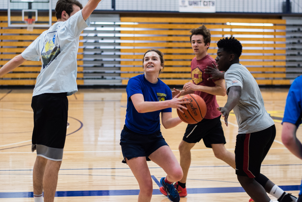 Eve Goldman playing at a recent pickup basketball game