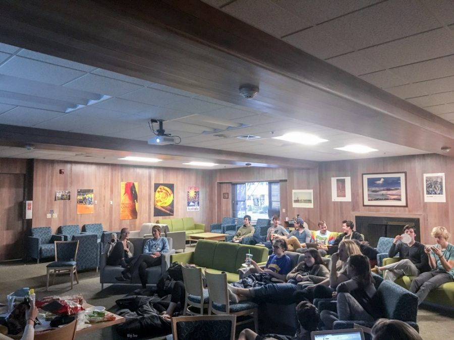 Students gathered in Jewett Hall to watch the Super Bowl