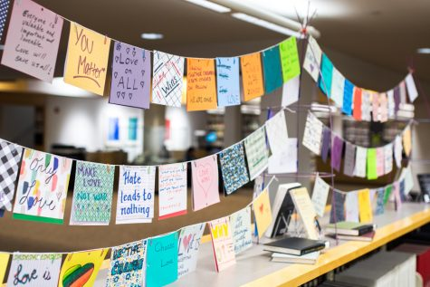 "The ""No Place for Hate"" art project, which is now on display in Penrose Library, gave students and community members a platform to speak out against hate and a rm Whitman as a loving and inclusive place."