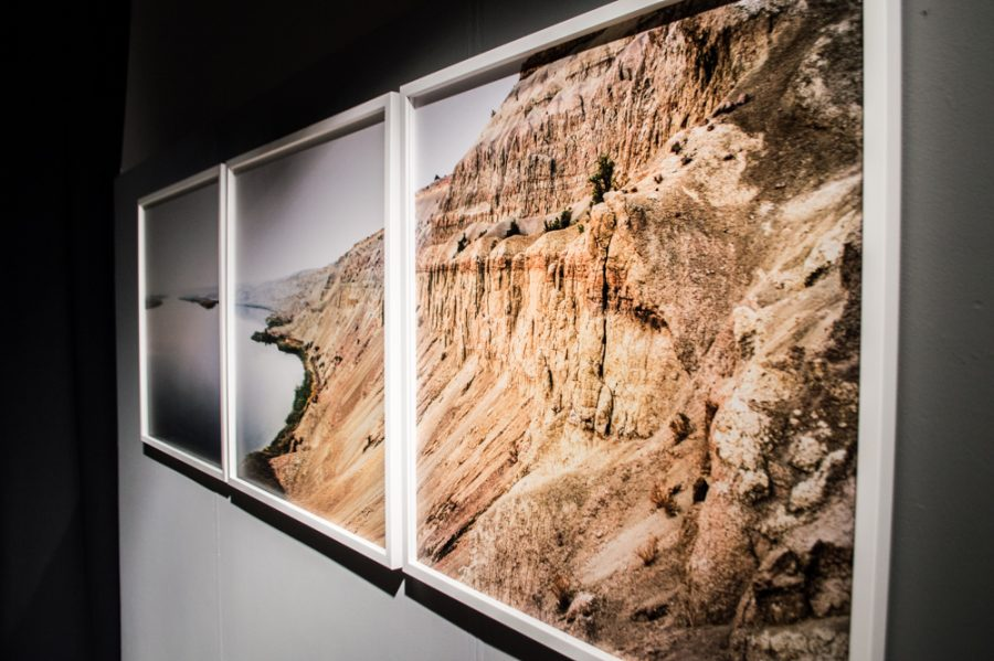 """Hanford Reach"" is a multimedia installation in Maxey Museum addressing the connection between the Hanford plutonium production and the bombing on Nagasaki during WWII."